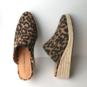 Lucky Brand Luceina Leopard Espadrille Wedge Mules